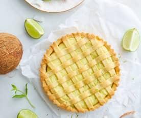 Crostata con crema di ricotta al lime e cocco (senza glutine)