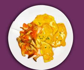 Sellerie-Schnitzel mit Pilz-Tomaten-Sugo