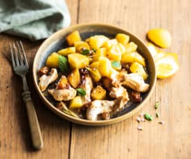 Pollo estilo Guanajuato (Poulet aux raisins secs, orange et citron)