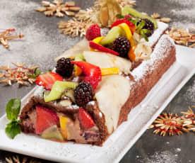 Tronco de Navidad con frutas frescas