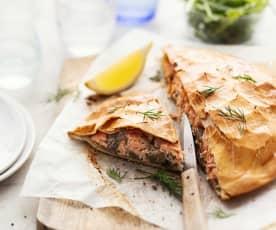 Tourte au saumon et champignons sauce crème