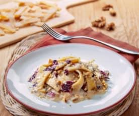 Mezze pappardelle di riso e ceci con radicchio, Gorgonzola e noci