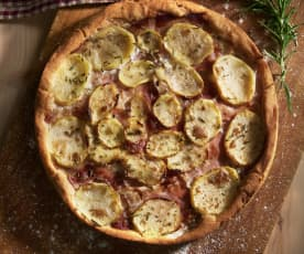 Pizza de gorgonzola, jamón y patata (sin gluten)