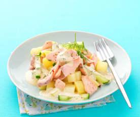 Insalata di patate e salmone profumata all'aneto