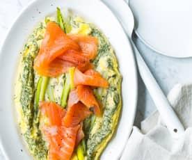 Omelette au saumon fumé et aux asperges