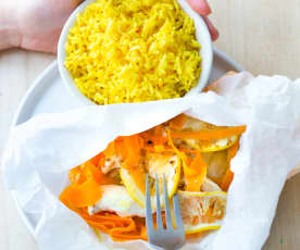 Poulet au citron, fenouil et riz épicé