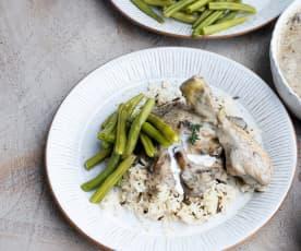 Chicken in Creamy Mushroom Sauce with Wild Rice
