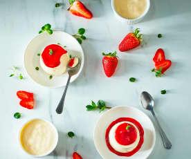 Semifreddo yogurt greco e salsa alle fragole