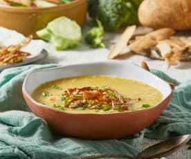 Broccoli Stem Soup with Crispy Potato Skins