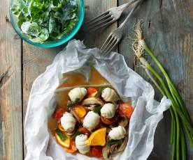 Buharda Dil Balığı ve Beyaz Peynirli Roka Salatası