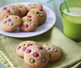 Cookies con confetti di cioccolato colorati