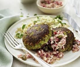 Broccoli burger con insalata di ravanelli (vegan)