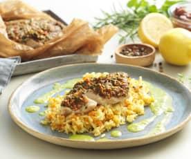 Kräuterfisch mit Karottenreis und Rucolasauce