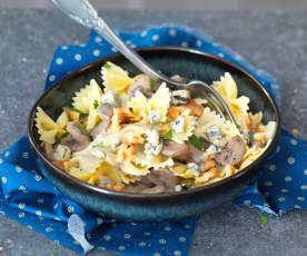 One pot pasta au bleu et aux champignons