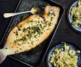 Limande-sole meunière et fondue de poireaux