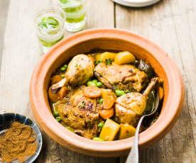 Tajine de poulet aux légumes de printemps