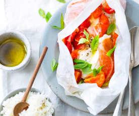 Poulet au speck, mozzarella et tomates