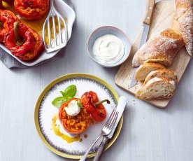 Gefüllte Paprika mit Linsenbolognese