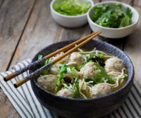 Prawn and fish ball soup with Ramen noodles