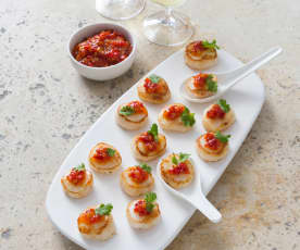 Grilled scallops with chilli jam