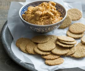 Oatcakes with Moroccan hommus