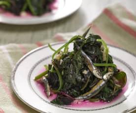 紅莧菜炒小魚乾