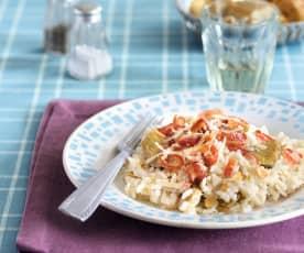 Risotto aux artichauts, à la pancetta et aux amandes