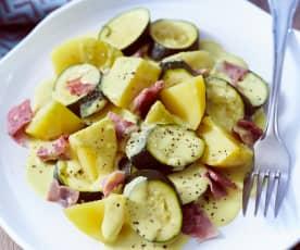 Zucchini-Schinken-Gemüse mit Frischkäsesauce