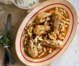 Pernas de frango guisadas com feijão