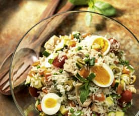 Rice Salad with Eggs and Tuna