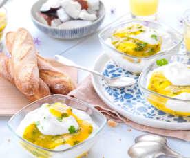 Mousse fromage blanc, mangue et coriandre