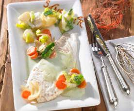 Steinbutt auf Chablis-Gemüse mit Estragonsauce und Sahne-Porree-Kartoffeln