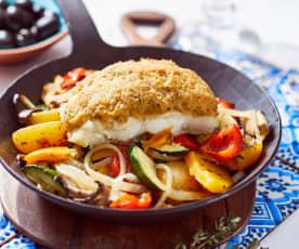 Kabeljau mit Olivenkruste und Ofengemüse