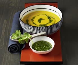 Kürbissuppe mit Korianderpesto