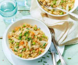 Pilaf de quinoa au poulet et petits légumes