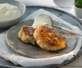 Hamburguesas de pollo con puré de patatas