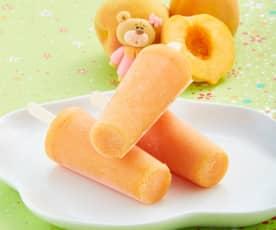 Paleta helada de durazno y plátano