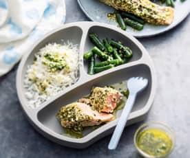 Baby-friendly Steamed Salmon Pesto Parcels with Basmati Rice and Green Beans