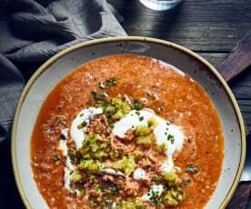 Sauerkrautsuppe mit Knoblauchsahne