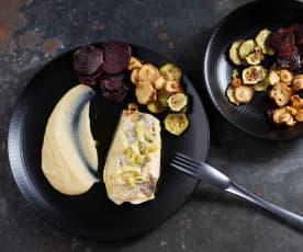 Filetti di trota sottovuoto con crema di fagioli e chips di verdure