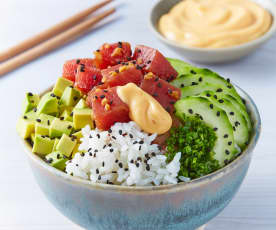 Poke bowl de atún spicy