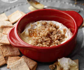 Baked Camembert with Mandarin Jam and Herb Crackers