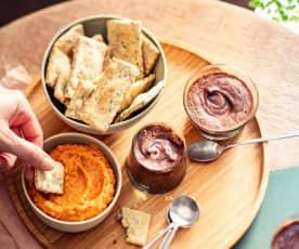 Crackers aux graines, houmous poivron et mousses au chocolat