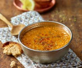 Sopa de bulgur e lentilhas vermelhas