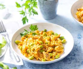 Arroz con edamame y pollo (Cocción de arroz)