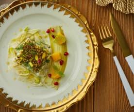 Baccalà in crosta di pistacchi, olio agli agrumi finocchi e melagrana