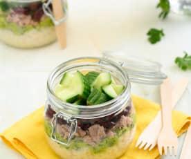 Thunfisch-Salat mit Bulgur und Kidneybohnen
