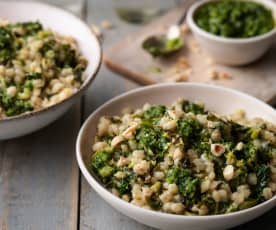 Lemon and Kale Pearl Barley Risotto with Parsley and Hazelnut Pesto