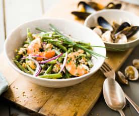 Salade chaude de haricots verts et fruits de mer
