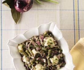 Ensalada templada de lentejas, coliflor y judías